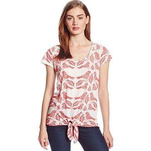 Lucky Brand Bird Print Tie-Front T-Shirt in Medium